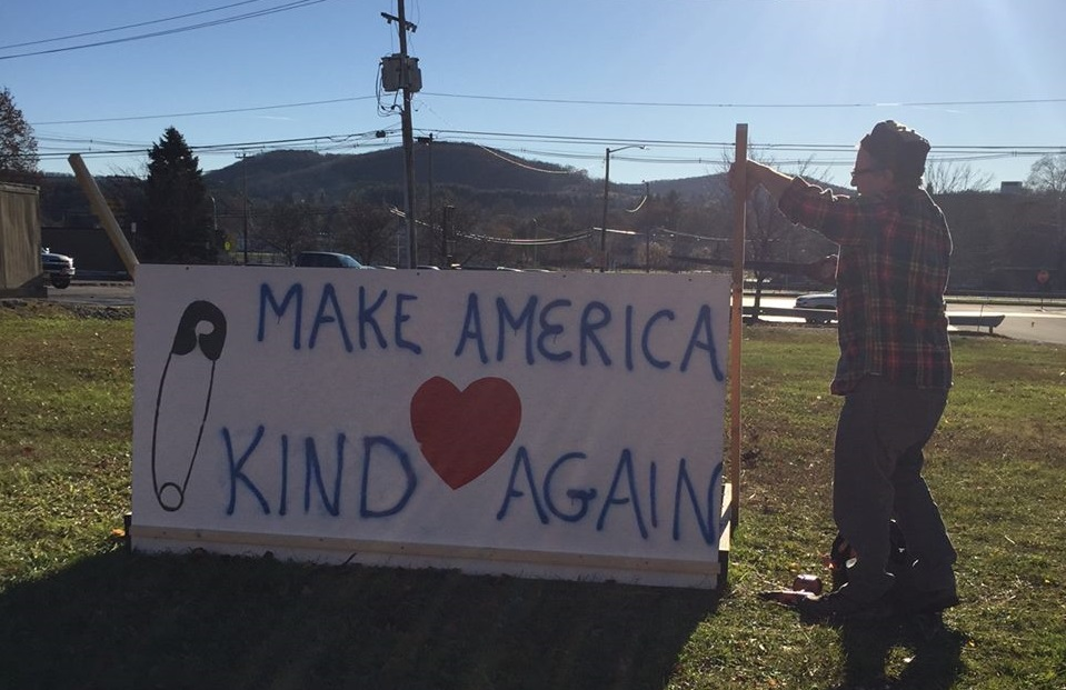 'Make America Kind Again' signs are in three spots in Wellsville as a response to last week's graffiti. (David Frederickson)