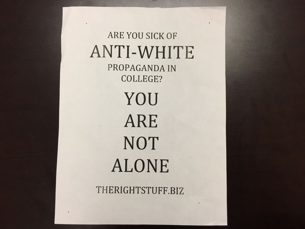 This 'anti-white propaganda' flyer was found by a University at Buffalo student in Clemens Hall. (Photo courtesy of The Spectrum)