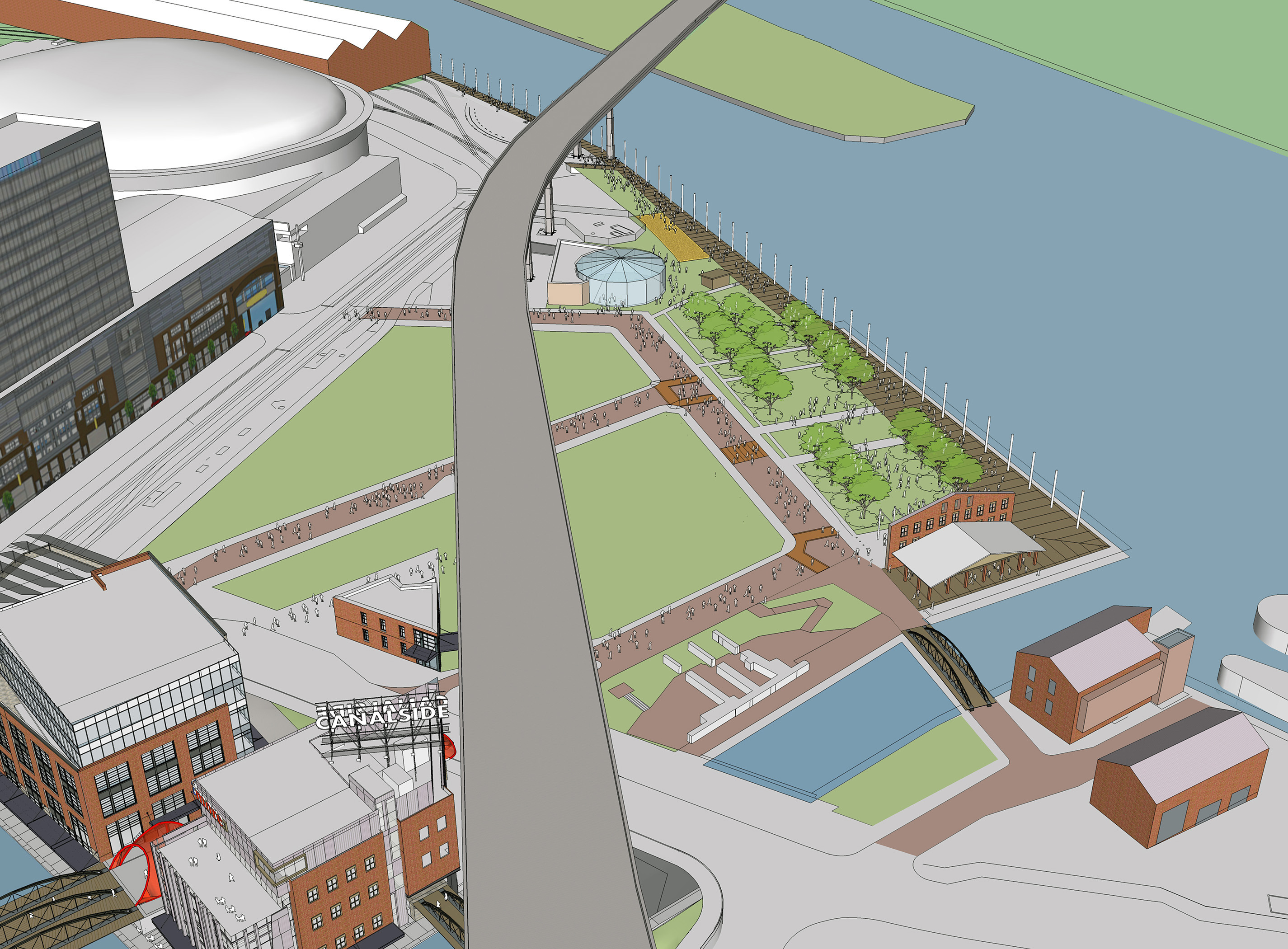 A new concert stage, a children's museum and floating docks are in the works for Canalside, shown here in a rendering.
