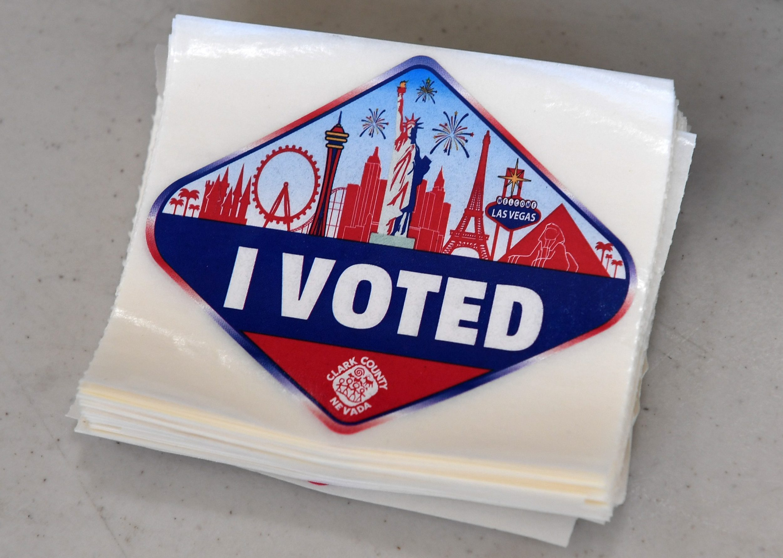 A Las Vegas Strip-themed 'I Voted' sticker is displayed at a polling station at Cheyenne High School on Election Day in North Las Vegas, Nevada. (Getty Images)