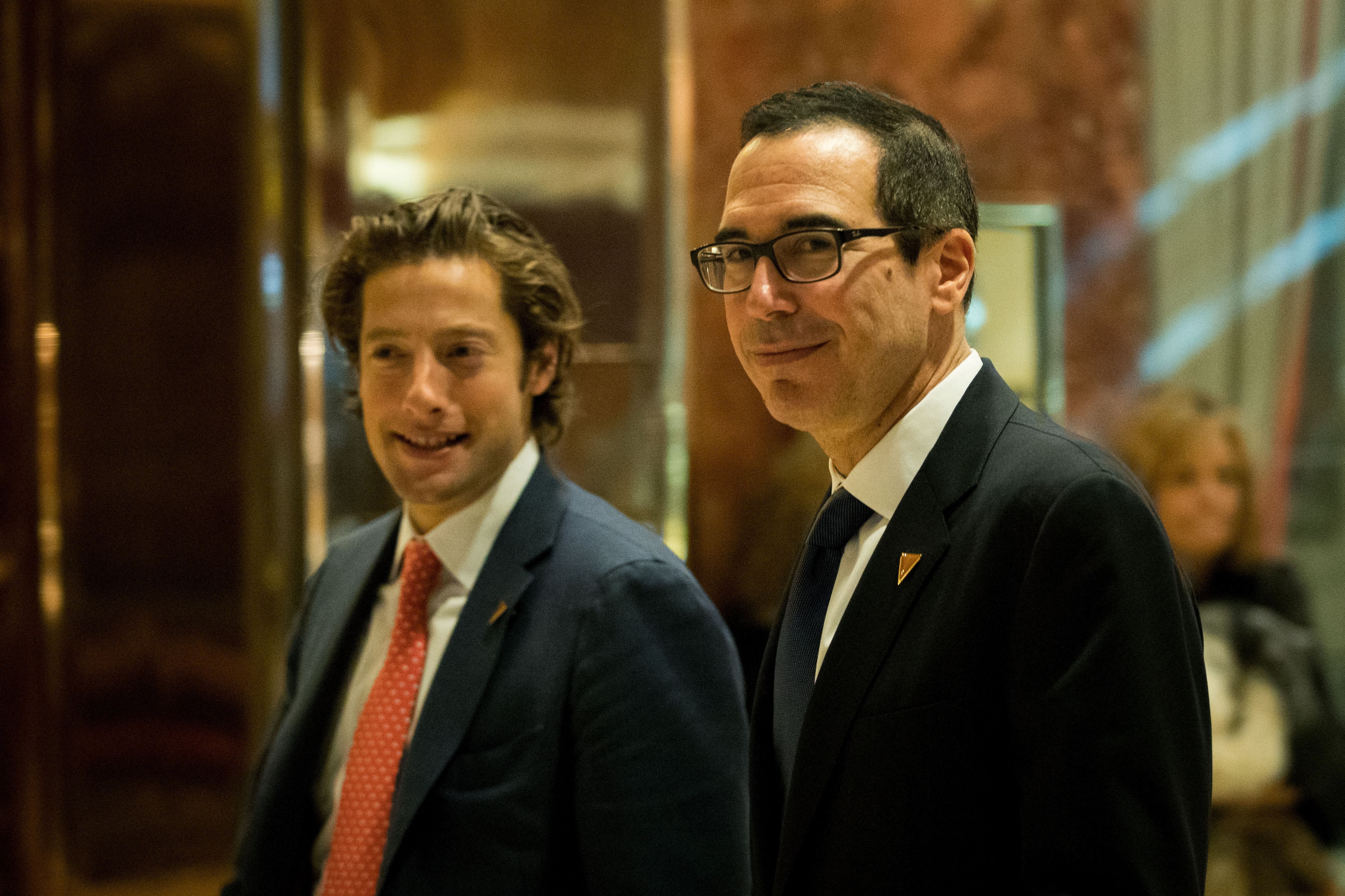 Eli Miller, left, chief operating officer of the Trump campaign, and Steve Mnuchin, national finance chairman for the Trump campaign, arrive at Trump Tower, November 29, 2016 in New York City. President-elect Donald Trump and his transition team are in the process of filling cabinet and other high level positions for the new administration. (Drew Angerer/Getty Images)