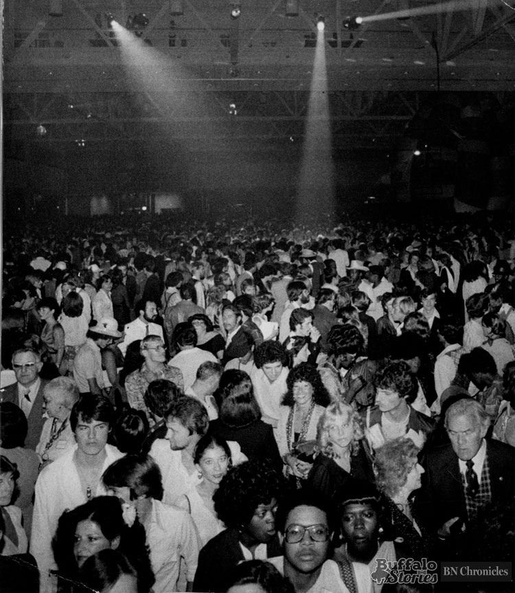 The crowd was into the music at the World's Largest Disco at the Buffalo Convention Center in 1979.