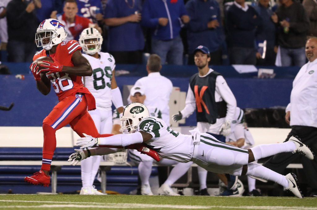Bills receiver Marquise Goodwin beats Jets corner Darrelle Revis for a long touchdown in their Week Two matchup (News file photo)