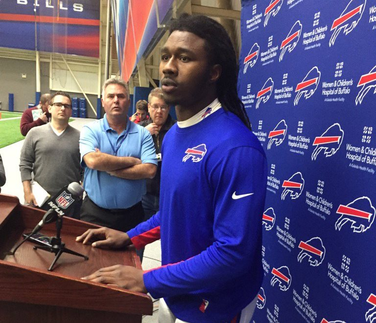 Sammy Watkins talks to reporters following Wednesday's practice. (Vic Carucci/Buffalo News)