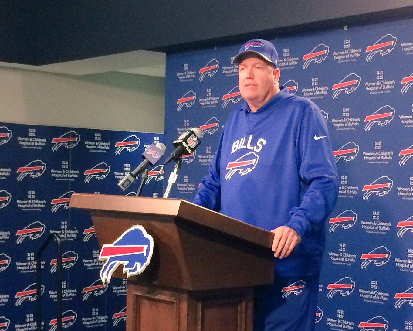 Rex Ryan addresses the media Wednesday. (Nick Veronica/Buffalo News)