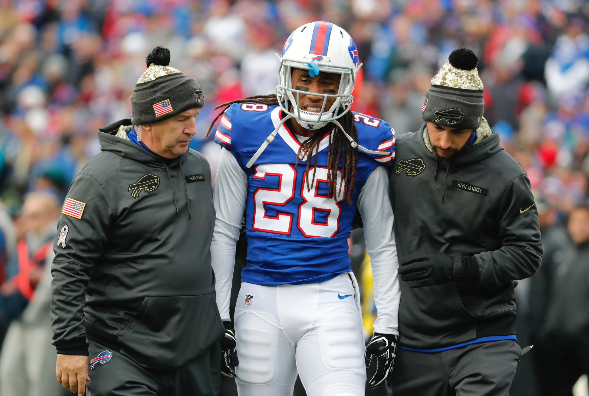 Ronald Darby is taken to the locker room for a possible concussion during the first quarter. (Harry Scull Jr./Buffalo News)