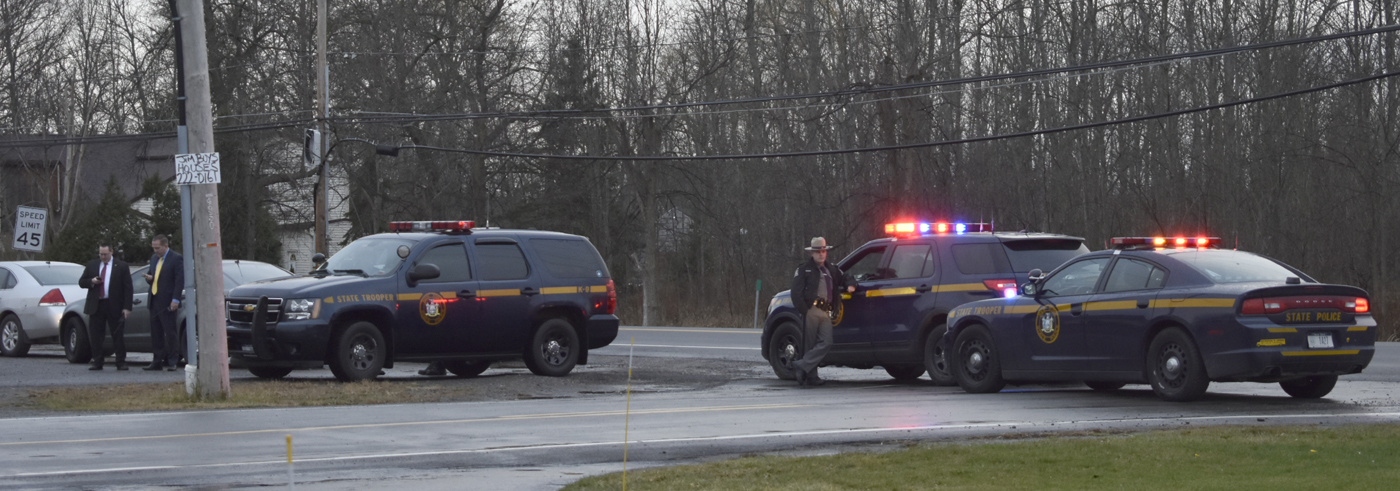 Police block off Oakwood Drive in Pendleton. (Larry Kensinger/Special to The News)