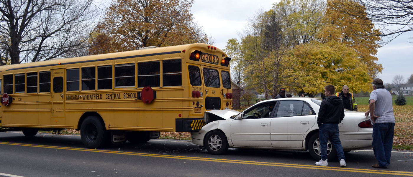 A vehicle crashed into a school bus Wednesday in Wheatfield. (Larry Kensinger/Special to The News)