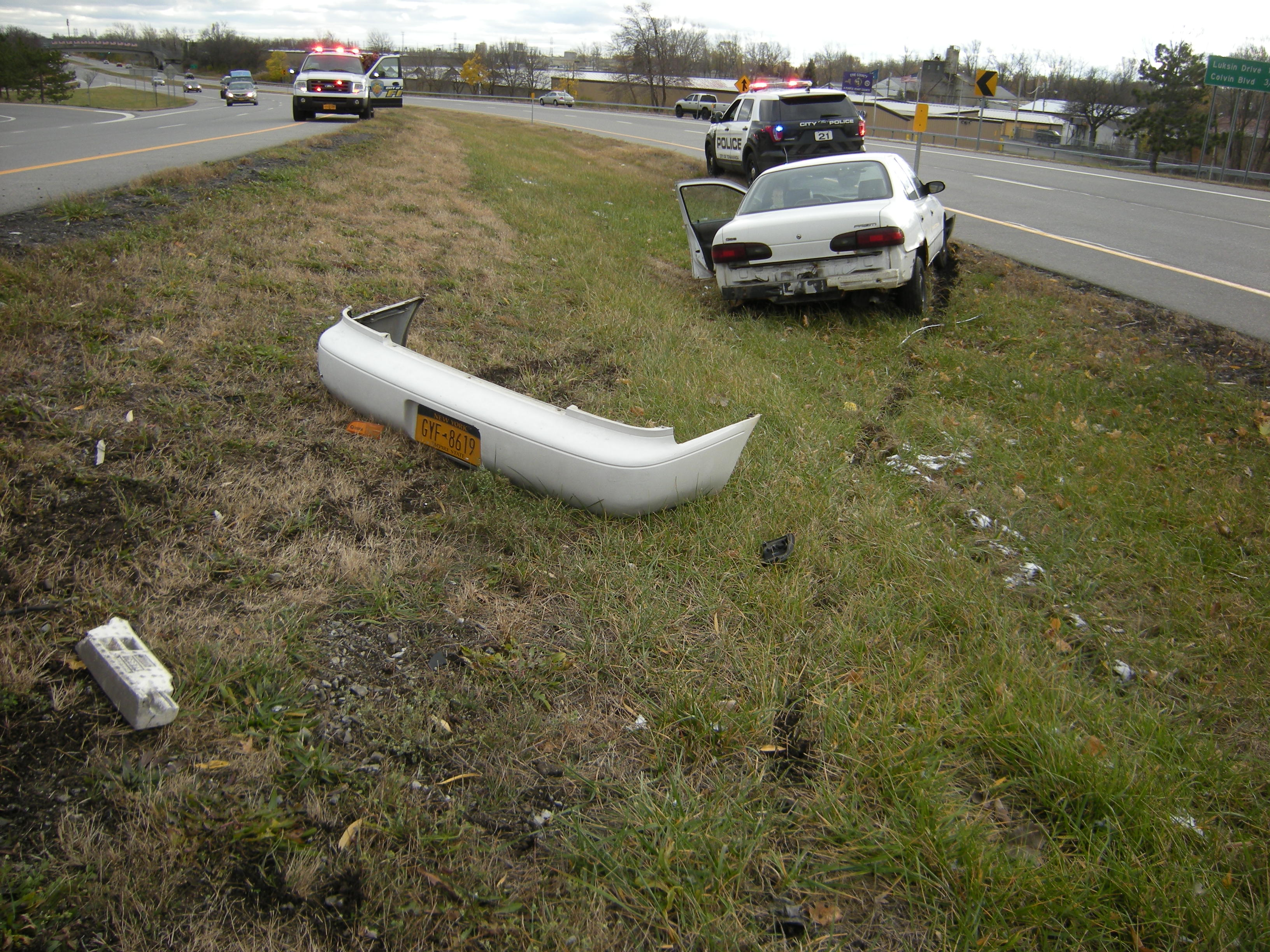 A crash Monday afternoon on the Twin City Memorial Highway resulted from a driver's coughing spell, he told police. (City of Tonawanda police)