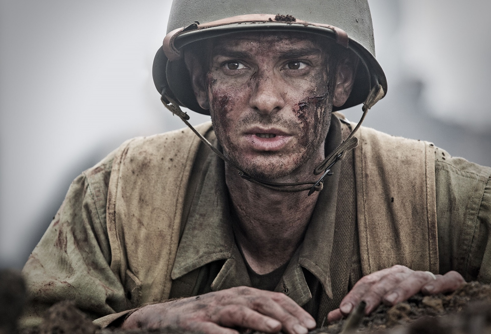 Andrew Garfield as Desmond Doss in a scene from the movie 'Hacksaw Ridge,' directed by Mel Gibson.