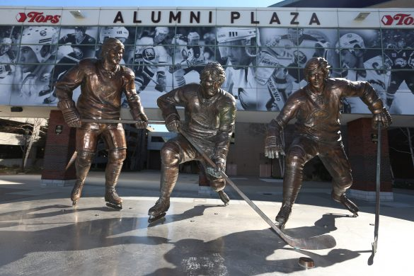 Statues of the famous French Connection  are prominently displayed outside KeyBank Center.  (Sharon Cantillon/Buffalo News)
