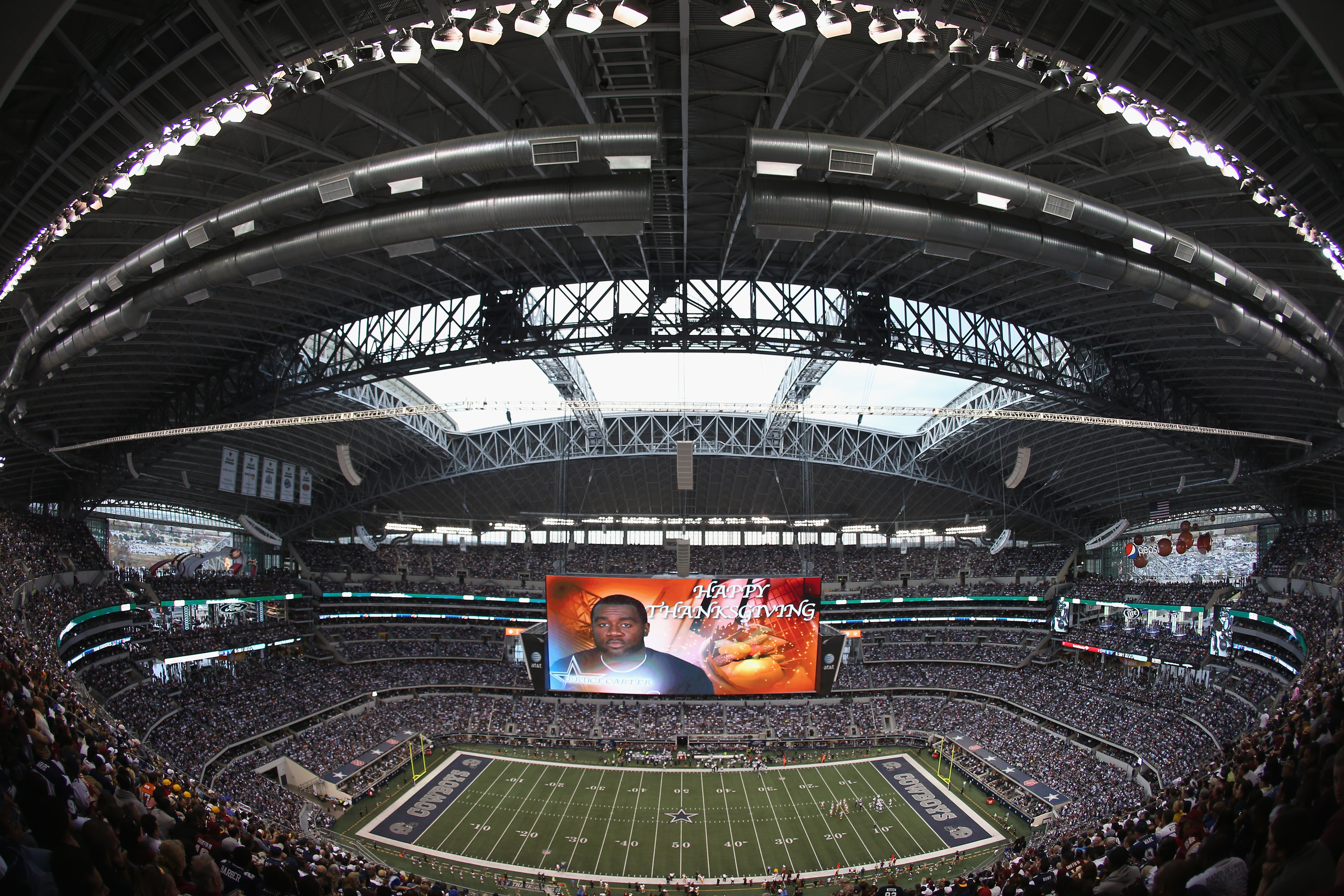 Thanksgiving Day games, like this 2012 contest at Dallas, are no longer the only NFL games played on Thursdays. (Getty Images)