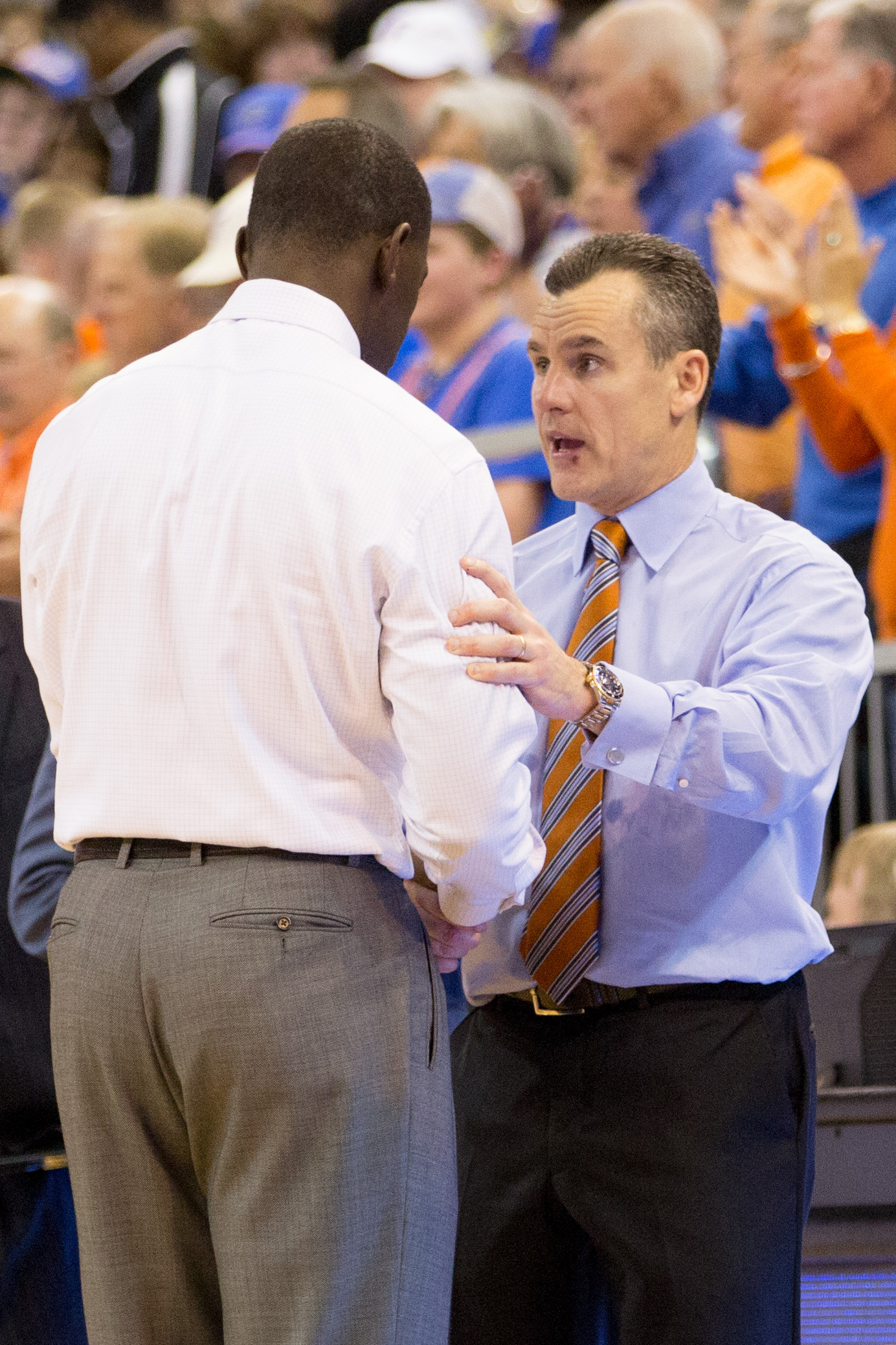 GAINESVILLE, FL - FEBRUARY 08: Head coach Billy Donovan of the Florida Gators and head coach Anthony Grant of the Alabama Crimson Tide shake hands after the game at the Stephen C. O'Connell Center on February 08, 2014 in Gainesville, Florida. (Photo by Rob Foldy/Getty Images)