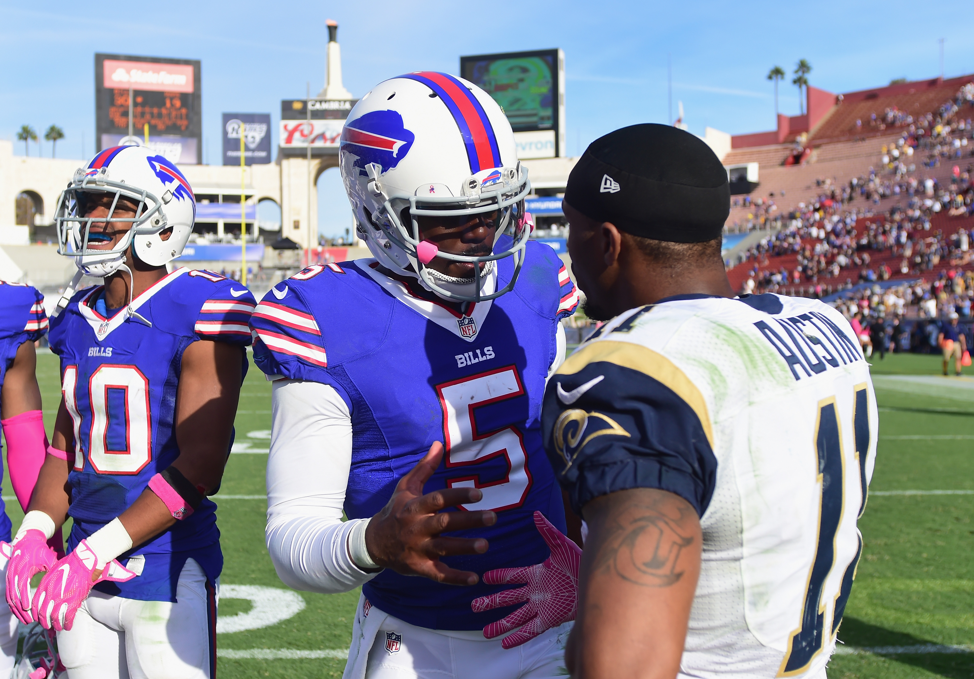 Bills quarterback Tyrod Taylor led his team to a victory in its last trip to the West Coast, which came last week against Seattle. (Getty Images)