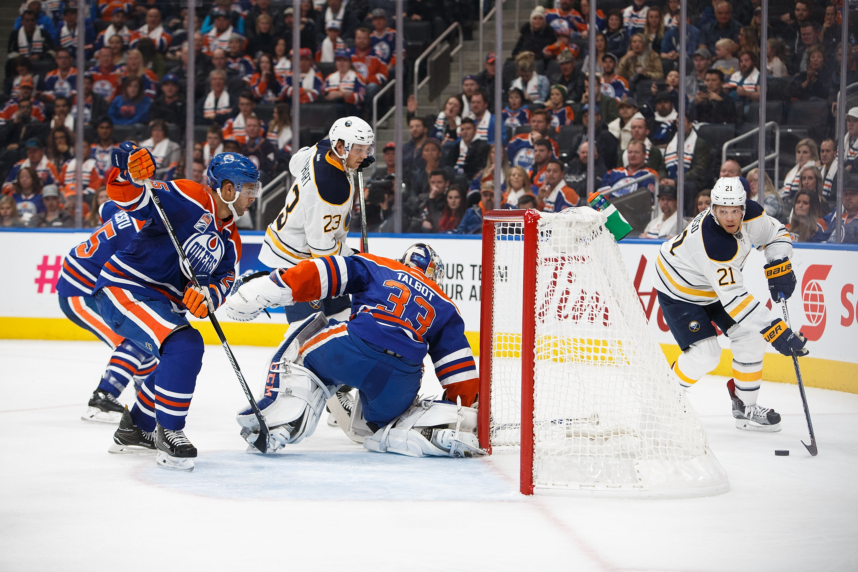 Sam Reinhart (23) does his best work for the Sabres near the net. (Getty Images)