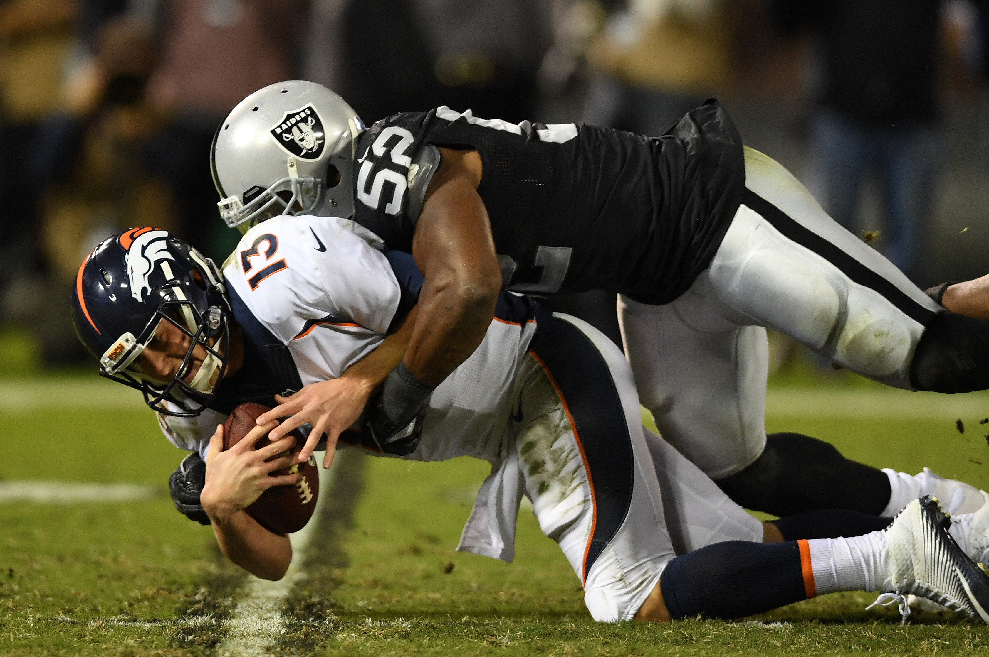 Khalil Mack had a pair of sacks for the Raiders in Week Nine. (Getty Images)