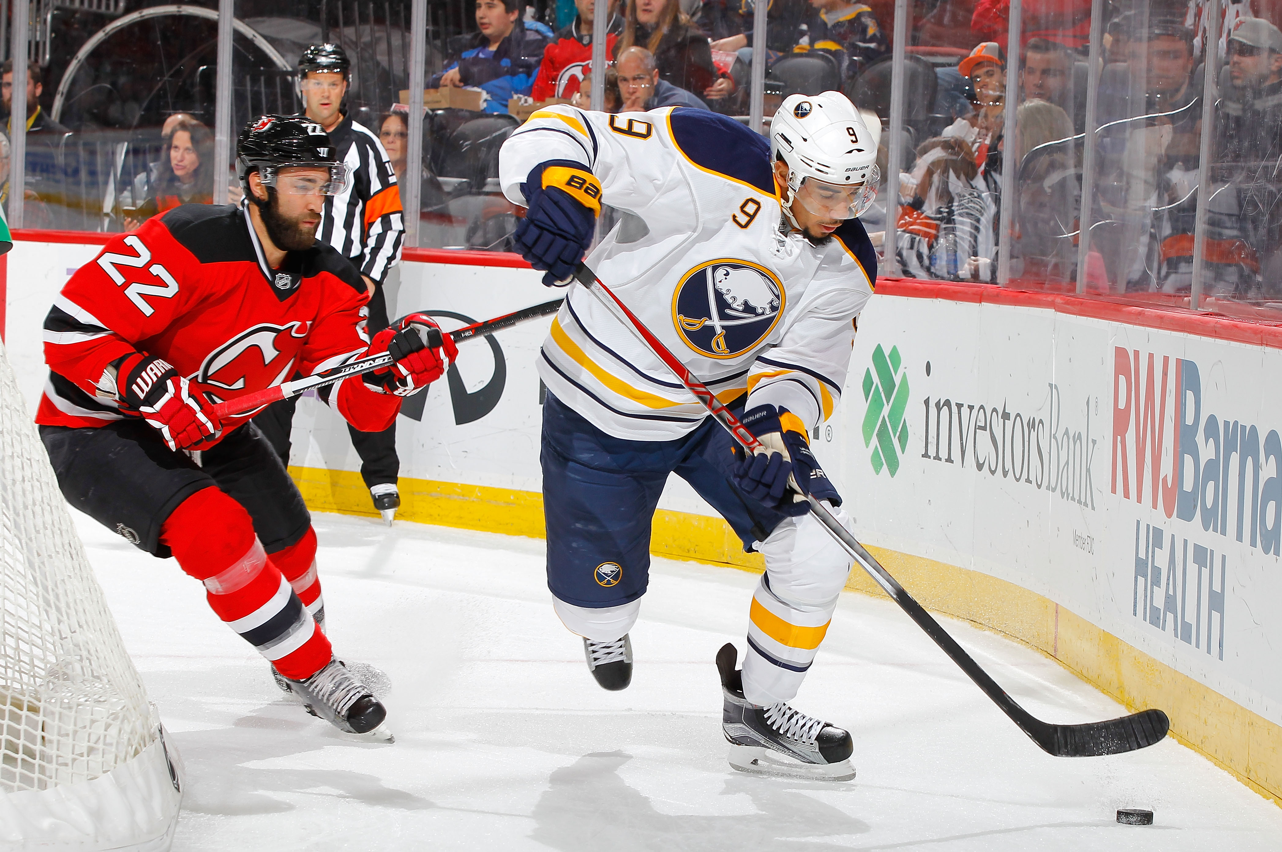 Evander Kane in action against the Devils earlier this season.  (Getty Images)