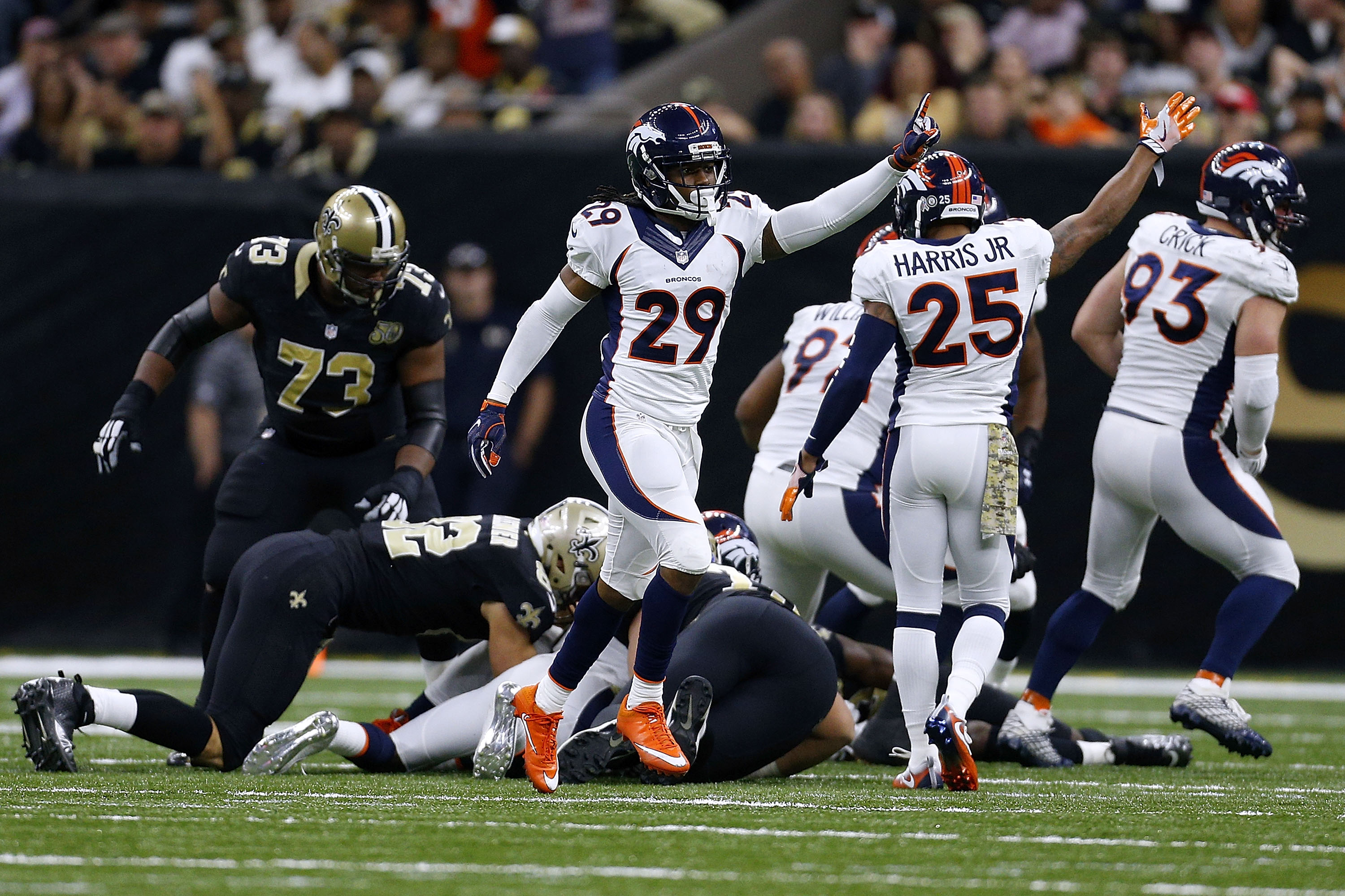 The Denver Broncos defense celebrates after recovering a fumble during the second half at New Orleans. (Getty Images)