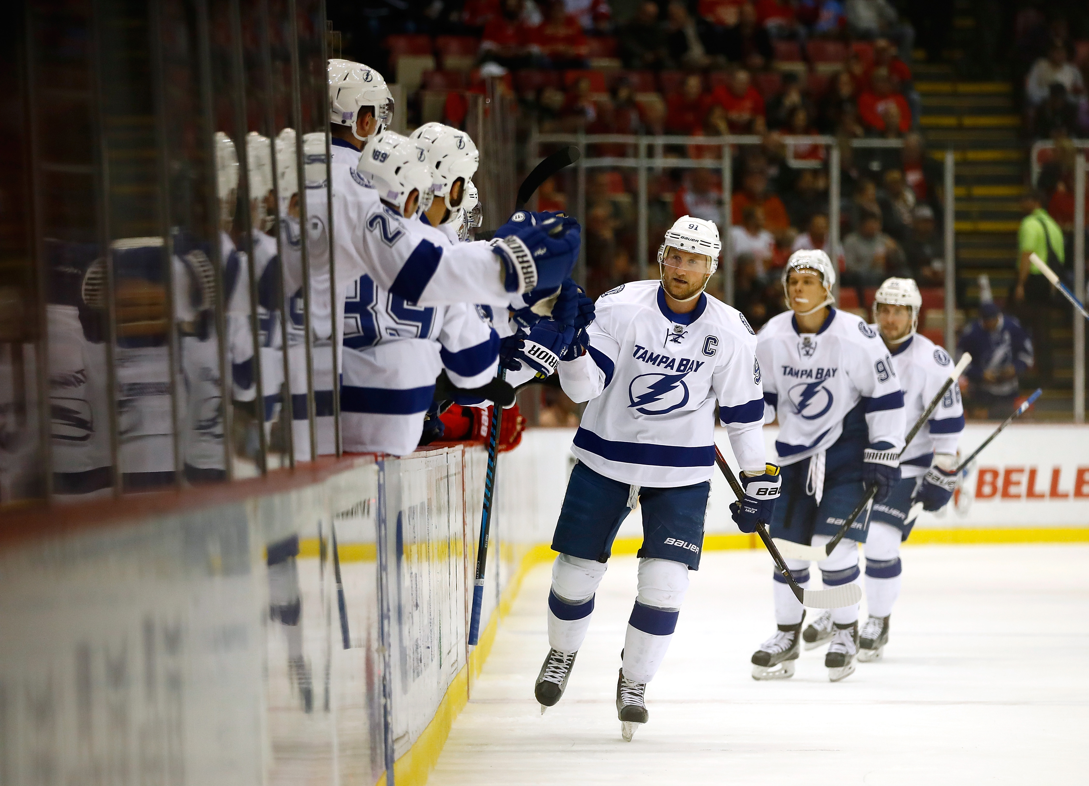 Steven Stamkos celebrated a goal Tuesday before leaving with a knee injury. (Getty Images)