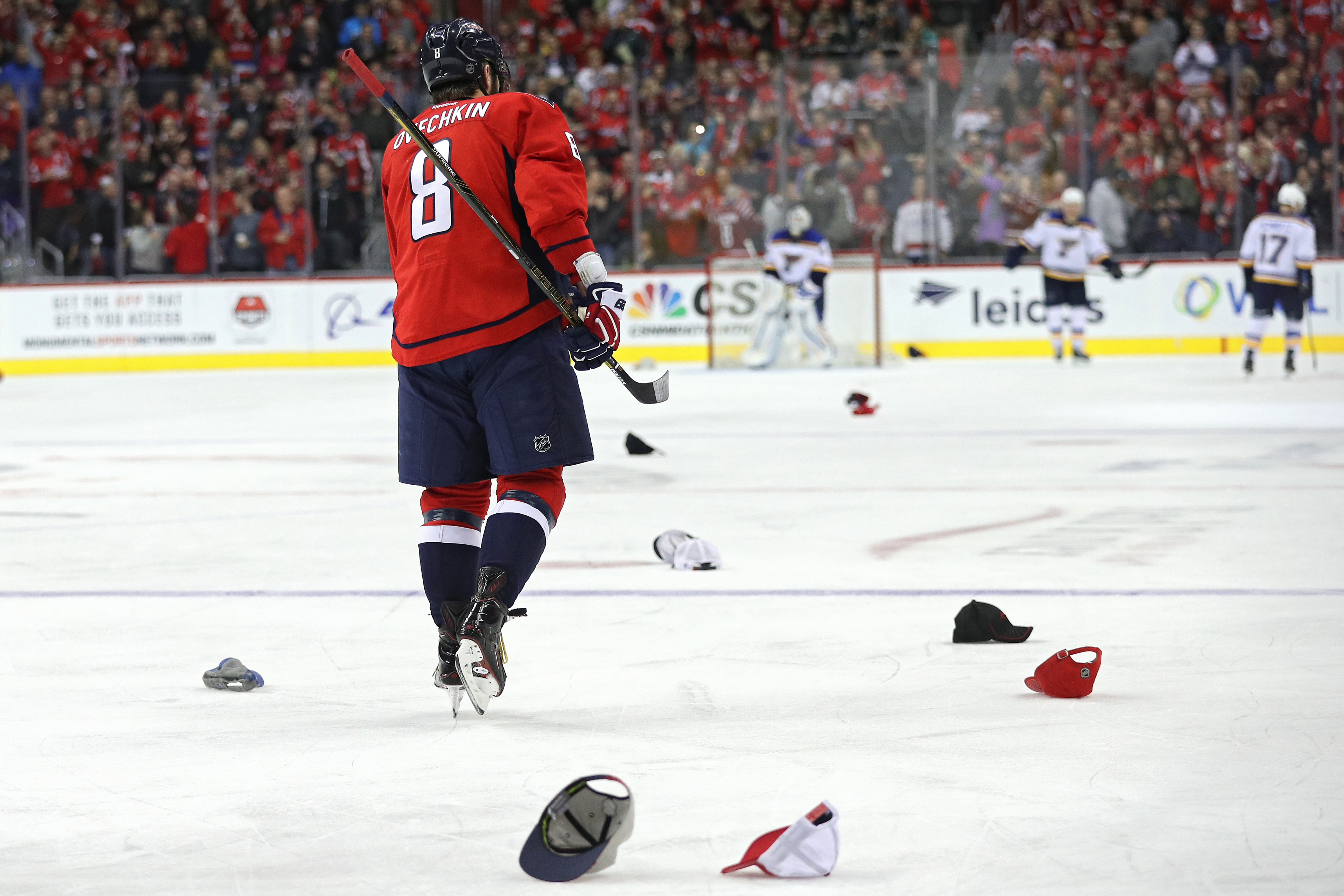 Alex Ovechkin, who had a hat trick Wednesday, is on verge of two milestones. (Getty Images)