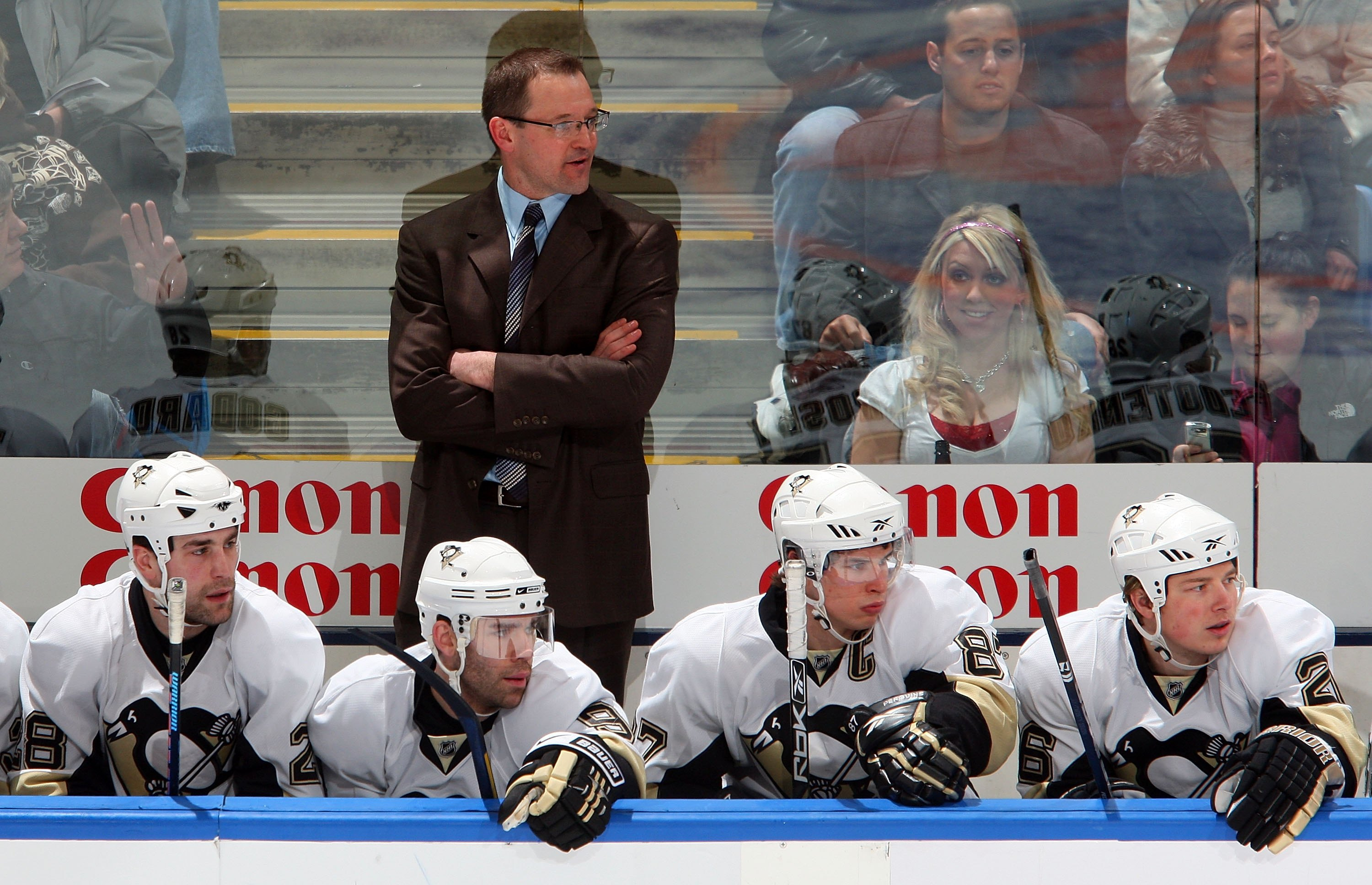Dan Bylsma's first game coaching was with Pittsburgh on Feb. 16, 2009. (Getty Images)