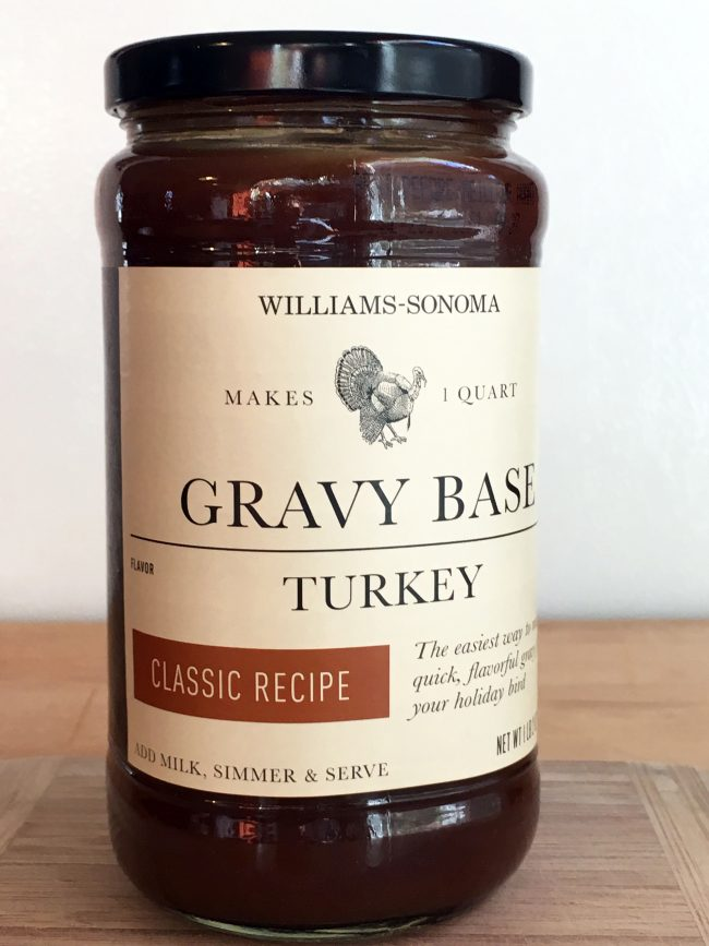 Williams-Sonoma gravy base mixes one part gravy base with milk or heavy cream. A jar yields about four cups of gravy, give or take if you add turkey pan drippings and stock.