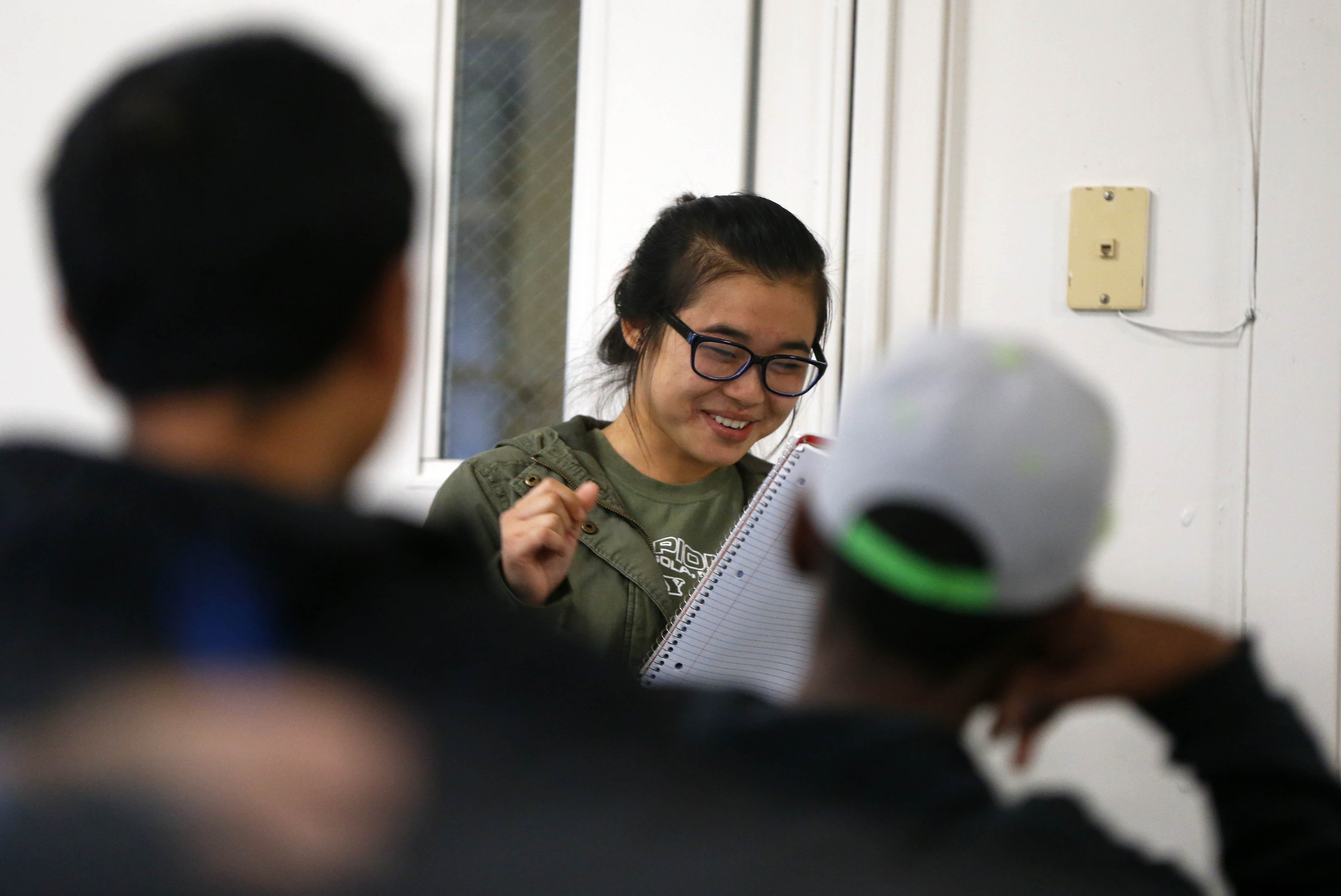 Moe This Sar does a public speaking exercise in front of her classmates during a communication class at Houghton College at the First Presbyterian Church in Buffalo Friday, Nov. 4, 2016. (Mark Mulville/Buffalo News)