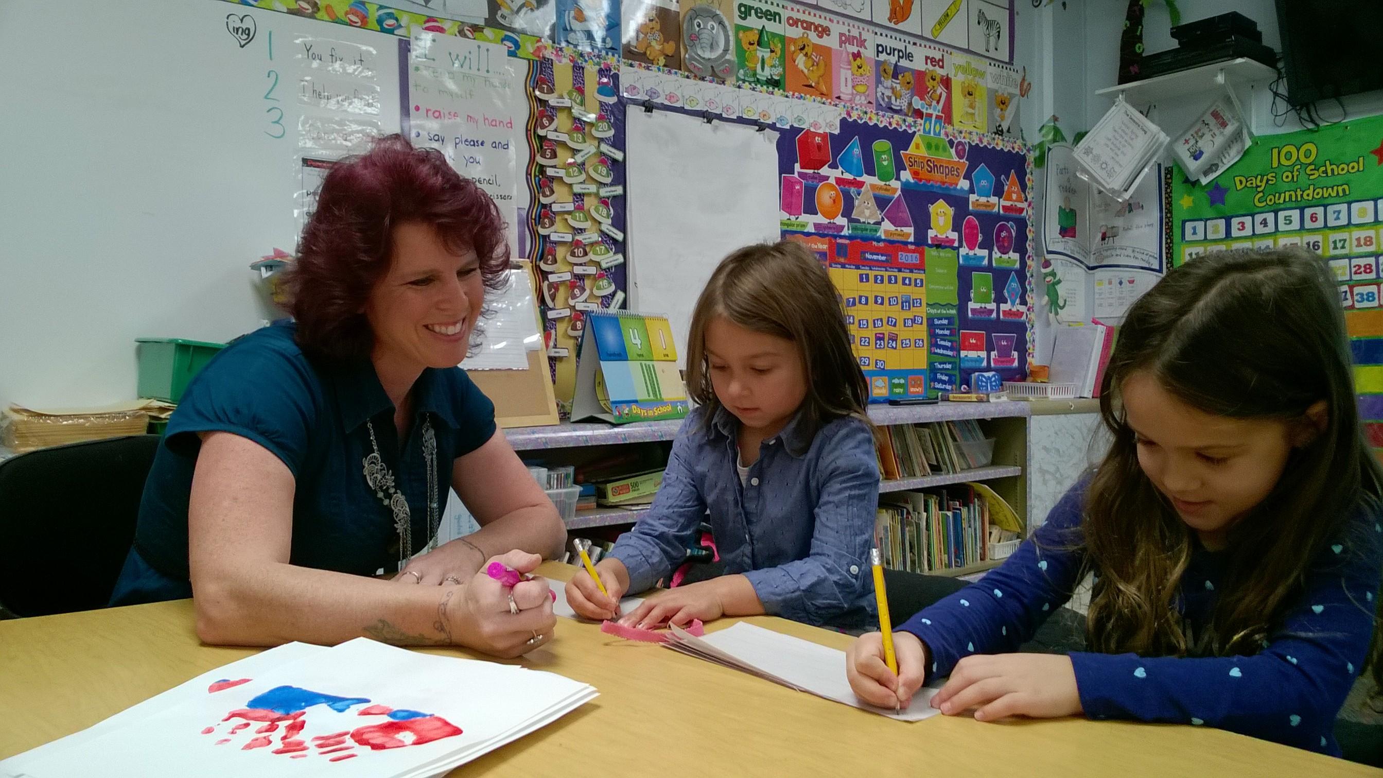 Royalton-Hartland Elementary School teacher Heather Pedini with two students, Taegan Stern and Sabrina Maline. (Provided photo)