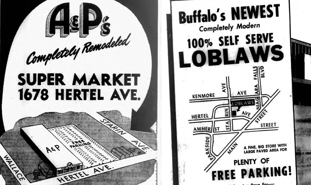A&P and Loblaw's fought grocery wars on Hertel Avenue in the 1950s from the same storefronts where the Lexington Co-Op and Dash's will be vying for customers 60 years later.