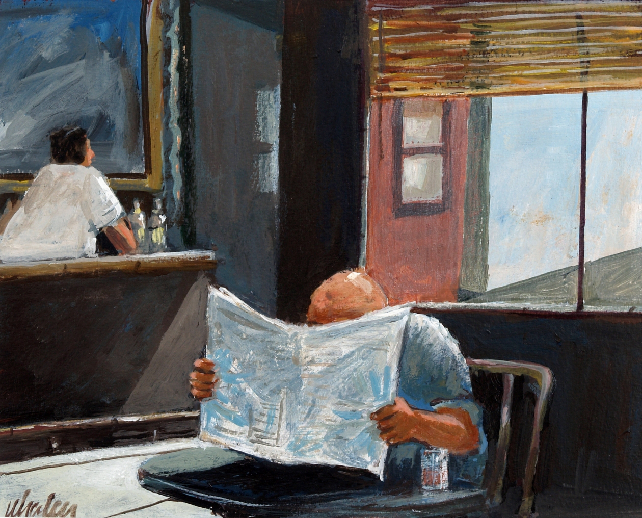 'The Morning Paper,' a painting by Joseph Whalen, was part of the Niagara Frontier Art Exhibit at the Kenan Center in Lockport.