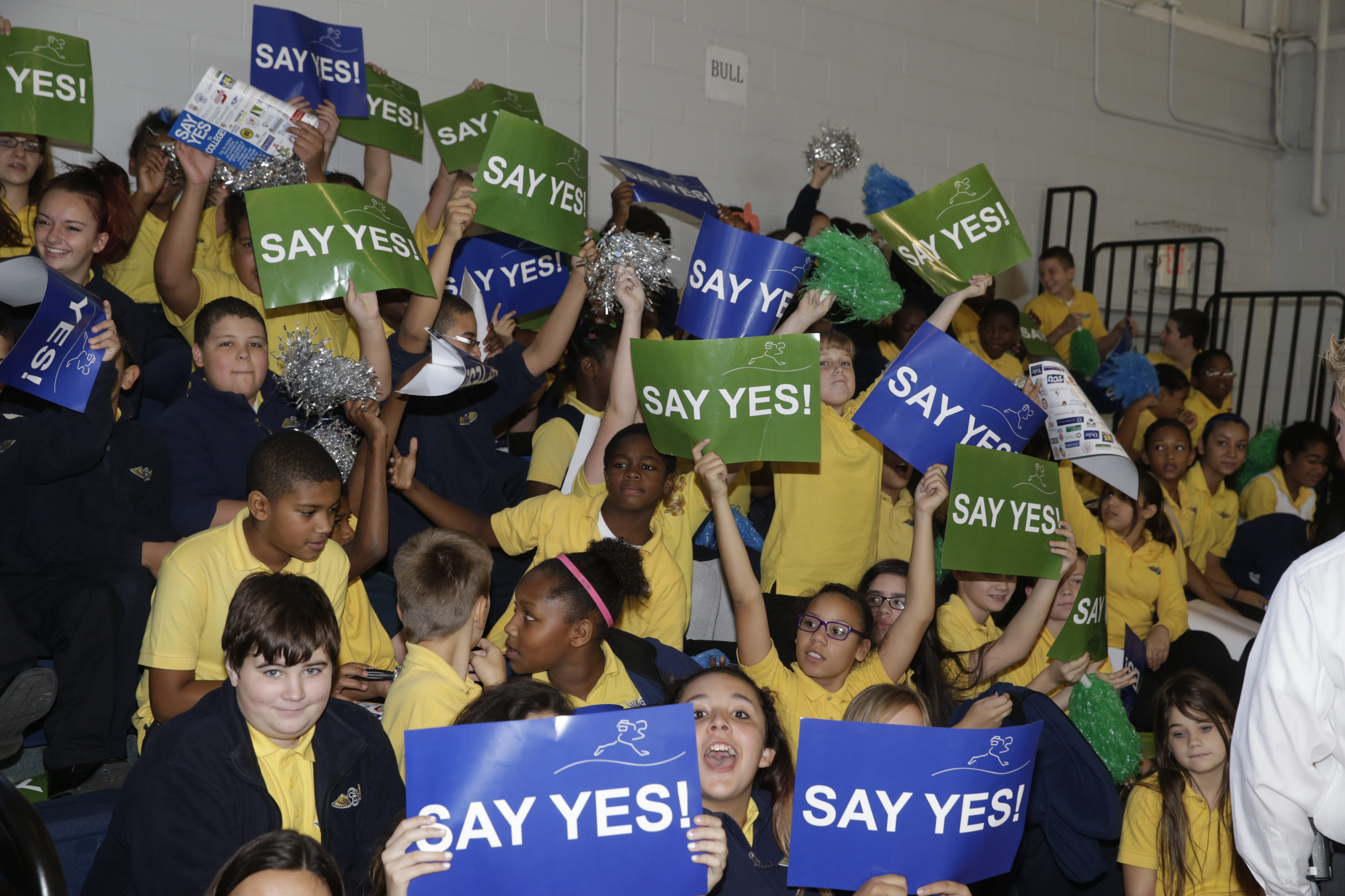 A rally celebrating Say Yes to Education which came to Buffalo five years ago. The roundtable group, formed with assistance from the Community Foundation 18 months ago, is built similarly to the Say Yes model.(News file photo)