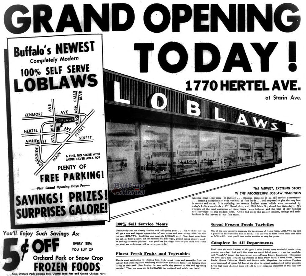 1955 ad for the grand opening of the Loblaws supermarket on Hertel Avenue. The same building is now the home of Dash's Markets. Buffalo Stories archives