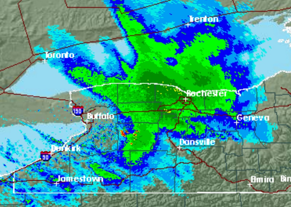 Heavy lake-effect snow off of Lake Ontario was pounding parts of Orleans, Genesee and Monroe counties late Sunday night. (NWS radar image)