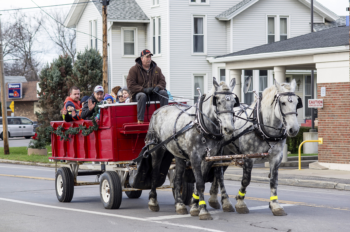 A horse-drawn wagon carries passengers at a past Ransomville Wreath Festival. The festival is scheduled Nov. 26 and 27, 2016. (Photo by Wayne Peters/Courtesy of Niagara River Region Chamber of Commerce)