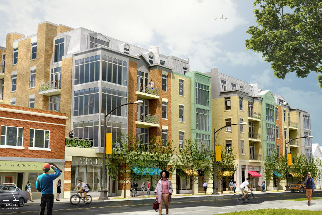Among issues discussed at the Common Council hearing was Ciminelli Real Estate's condominium, apartment and retail proposal for Elmwood Avenue that would span two blocks north of Bidwell Parkway. (Rendering from Ciminelli Real Estate)