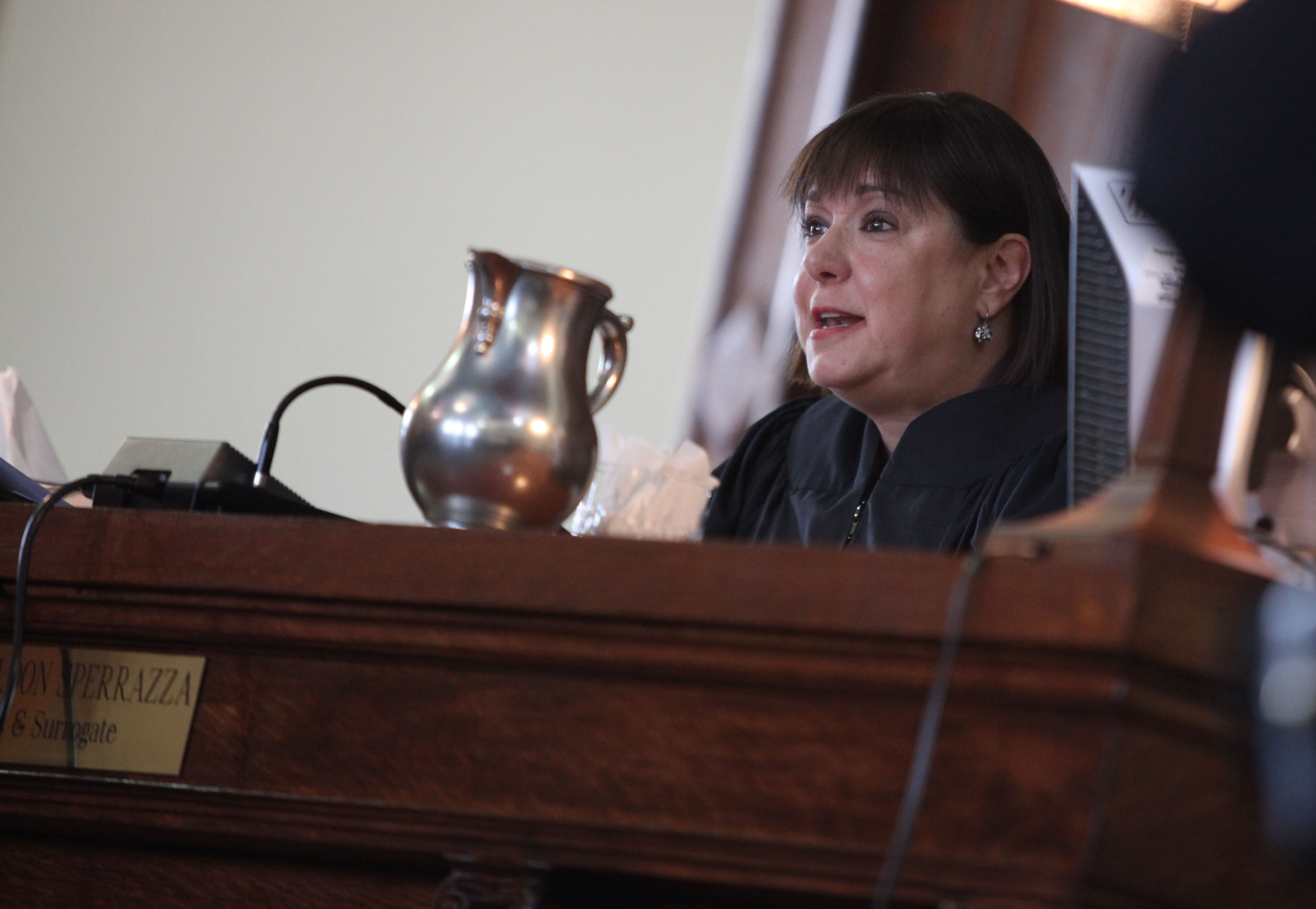 Niagara Judge Sara Sheldon, shown during the 2010 sentencing of Anthony J. Allen for the murder of Renee Greco, won't be able to hear criminal cases in Niagara County during 2017.  {Photo by Charles Lewis/Buffalo News/File photo.}