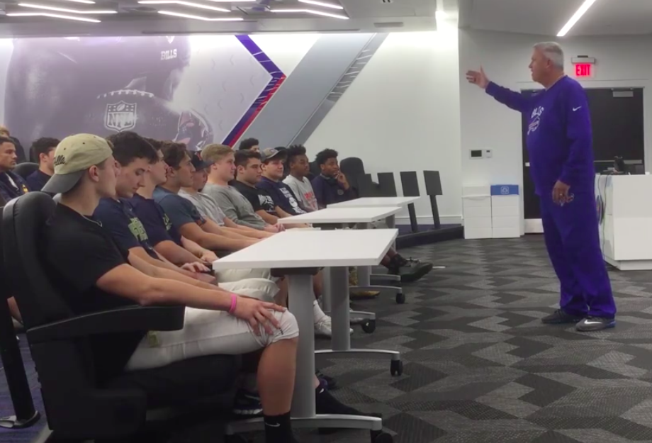 Rex Ryan speaks to the Canisius High School football team (via Facebook/Canisius High School)