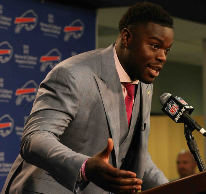 Bills first-round draft pick Shaq Lawson speaks at the podium after being selected in the draft. (James P. McCoy/Buffalo News)