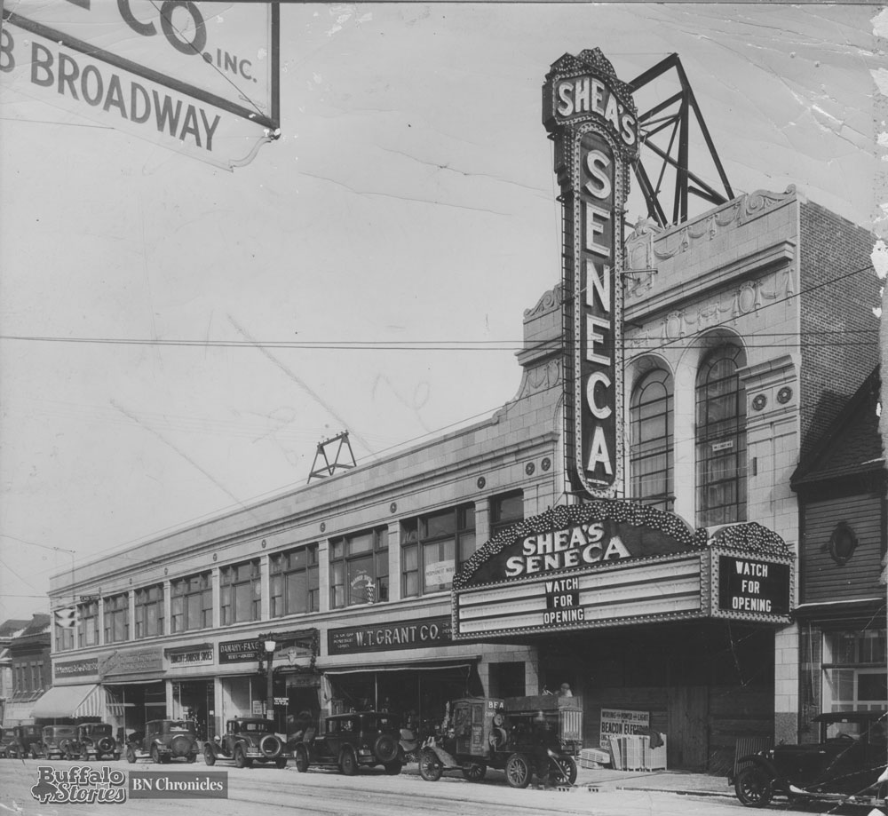 The now gone Shea's Seneca marquee was 61 feet high, was make of 6,000 bulbs, and used enough electricity to light 75 homes.