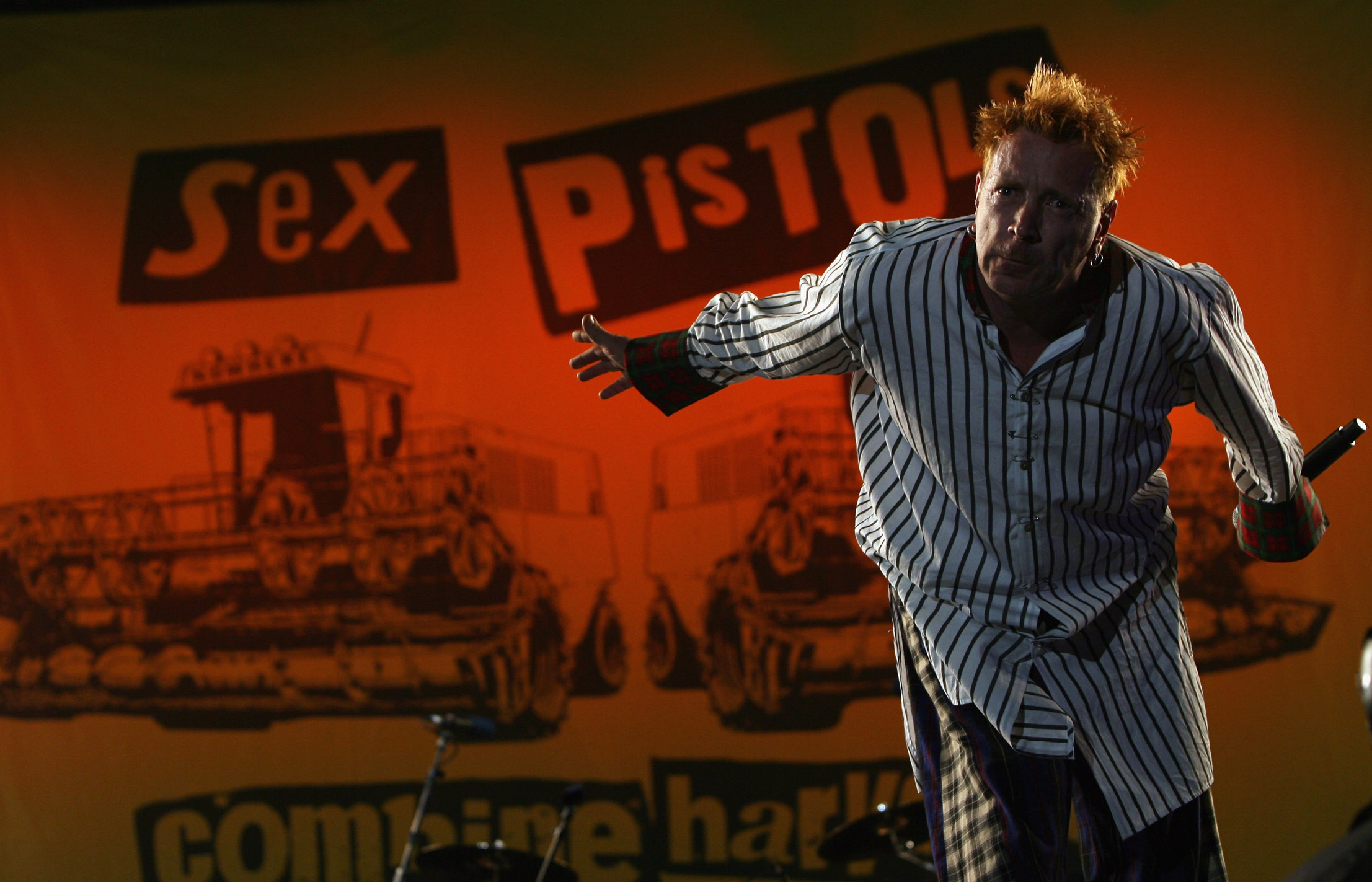 John Lydon of the Sex Pistols, seen performing at an Isle of Wight festival, were an integral part of punk rock. (Getty Images)