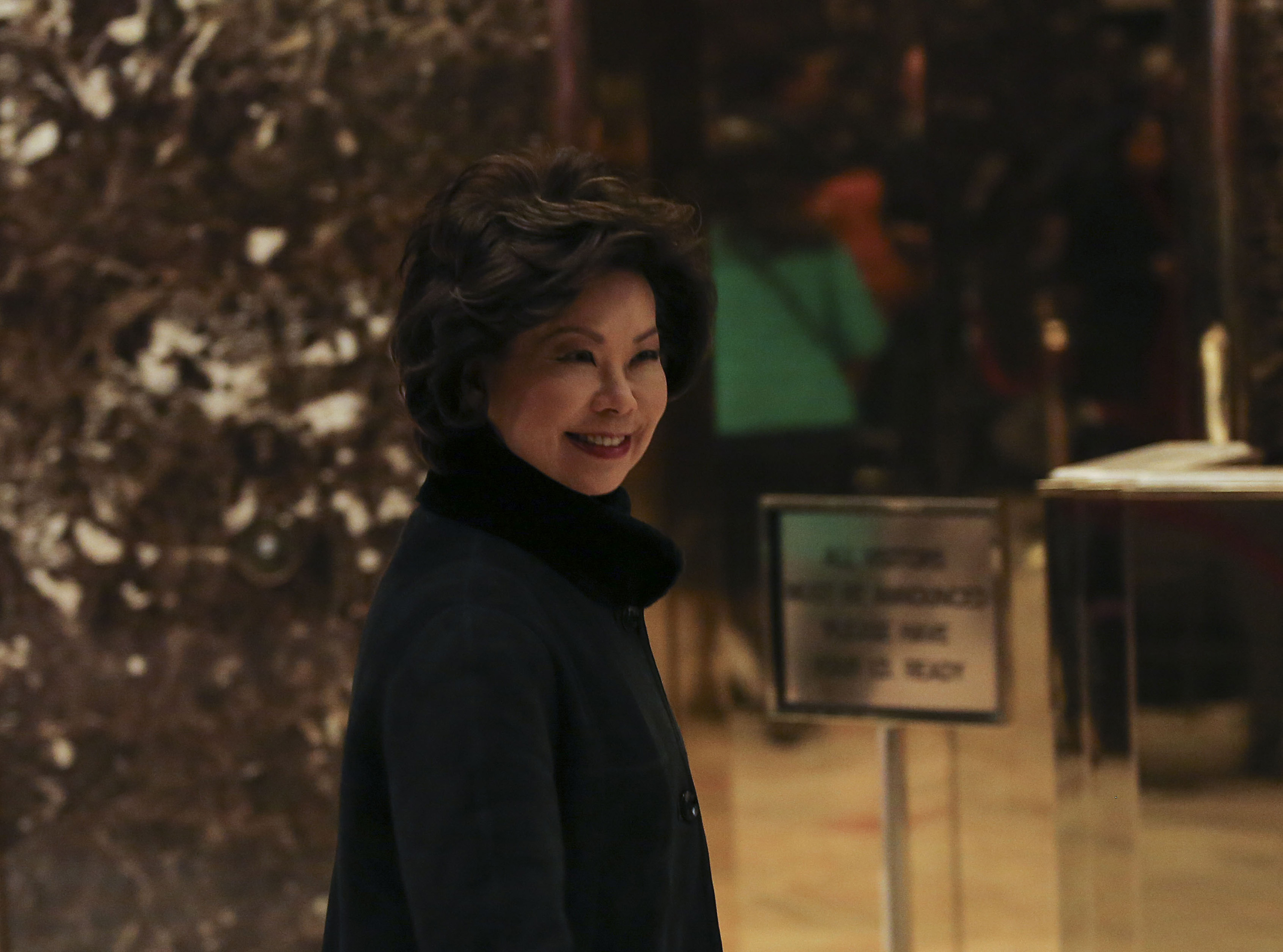 Former US Secretary Elaine Chao arrives for a meeting with President elect Donald Trump, in the Trump Tower on Nov. 21 in New York. (Aude Guerrucci/Sipa USA/TNS)