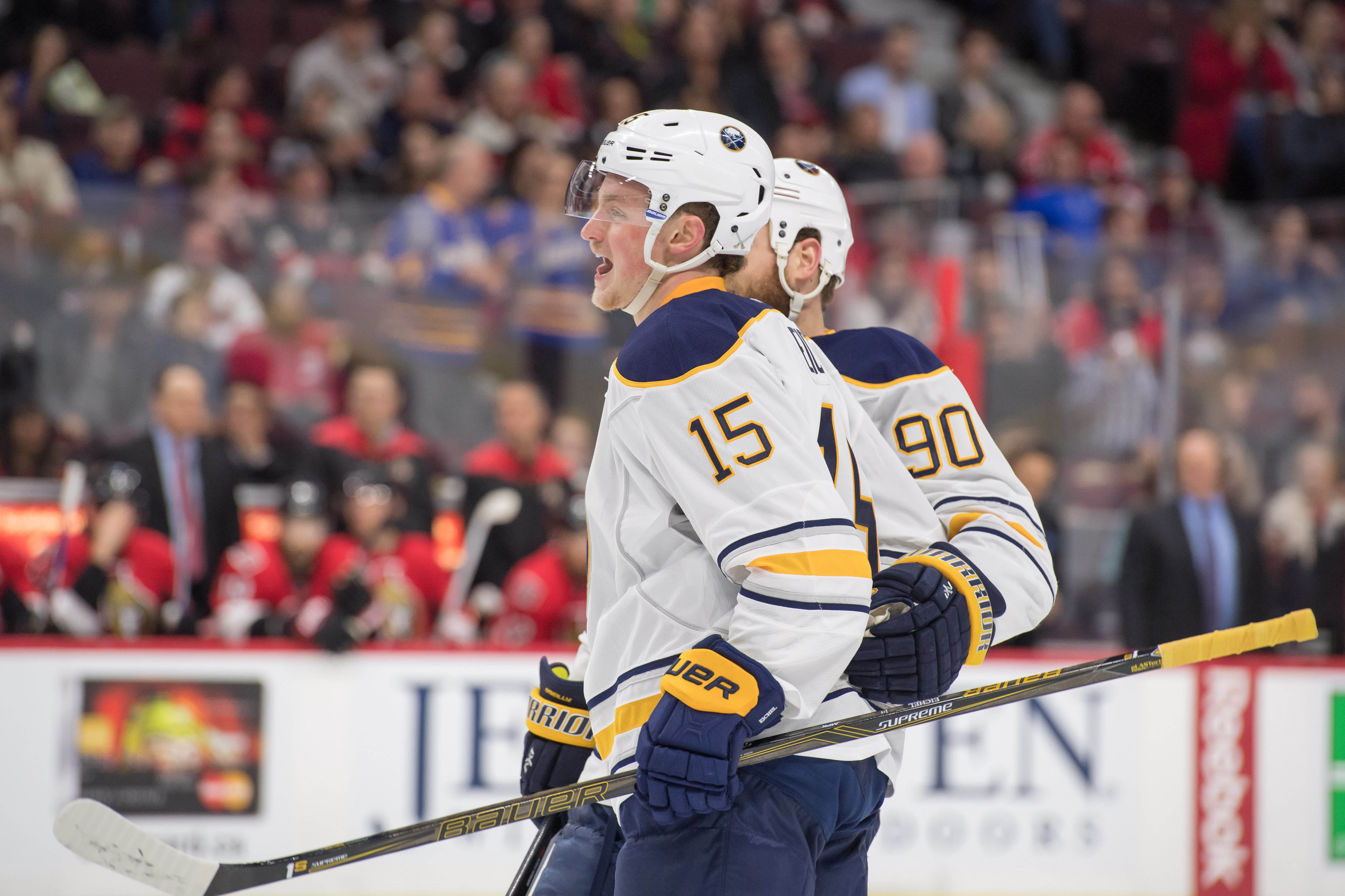 Jack Eichel returned to the lineup Tuesday and celebrated his first goal of the season. (USA Today Sports)