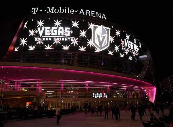 The team name and logo for the Vegas Golden Knights are displayed on T-Mobile Arena's video wall after being revealed Tuesday night (Getty Images).