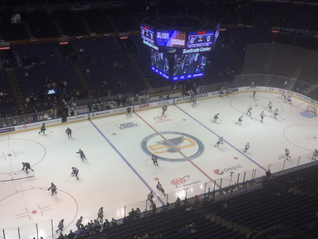 The Sabres and Blues met Tuesday in Scottrade Center, where St. Louis' 50th anniversary logo adorns center ice (Mike Harrington/Buffalo News).