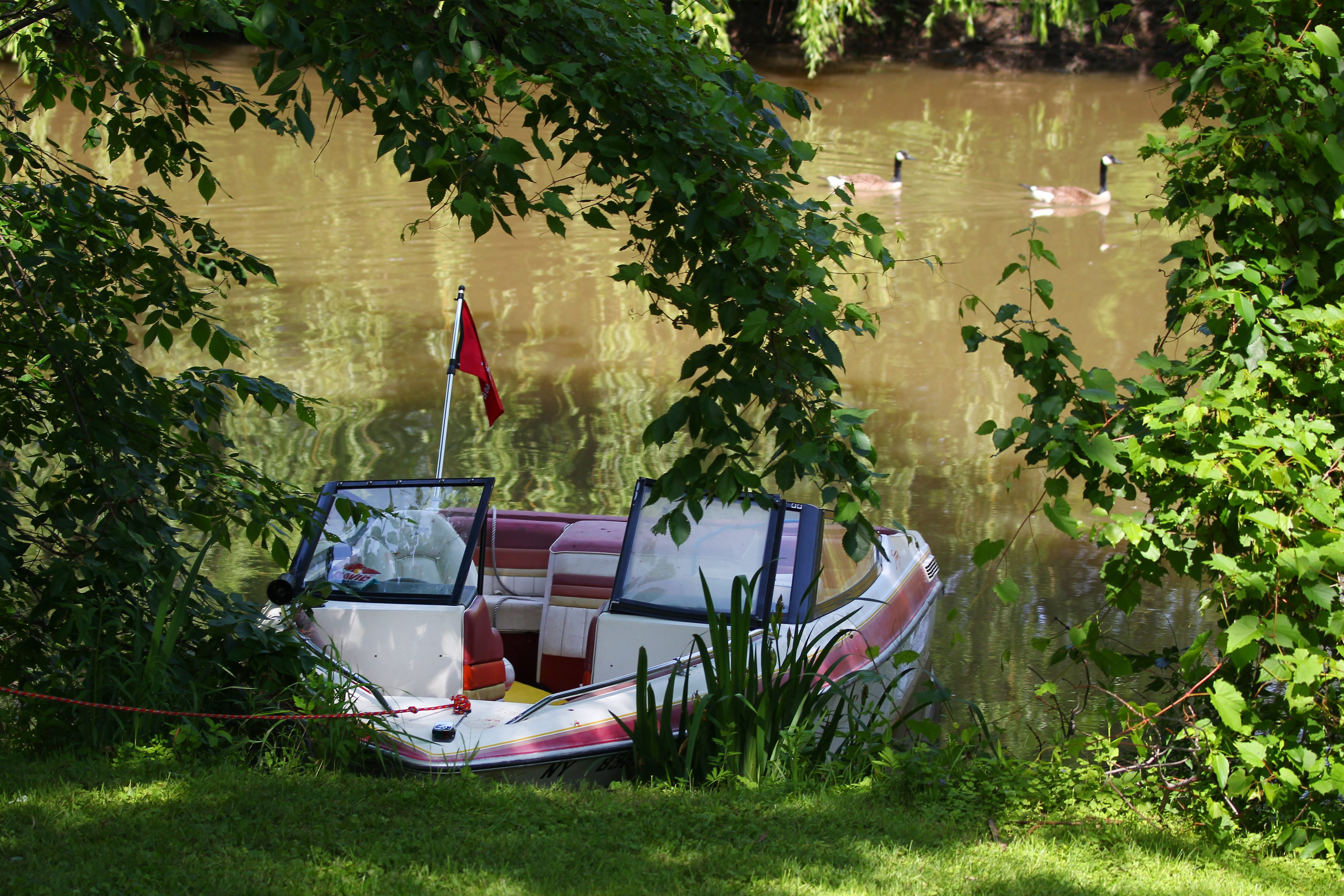 The boat that was involved in the 2015 accident on Ellicott Creek that resulted in a death. (Mark Mulville/Buffalo News file photo)