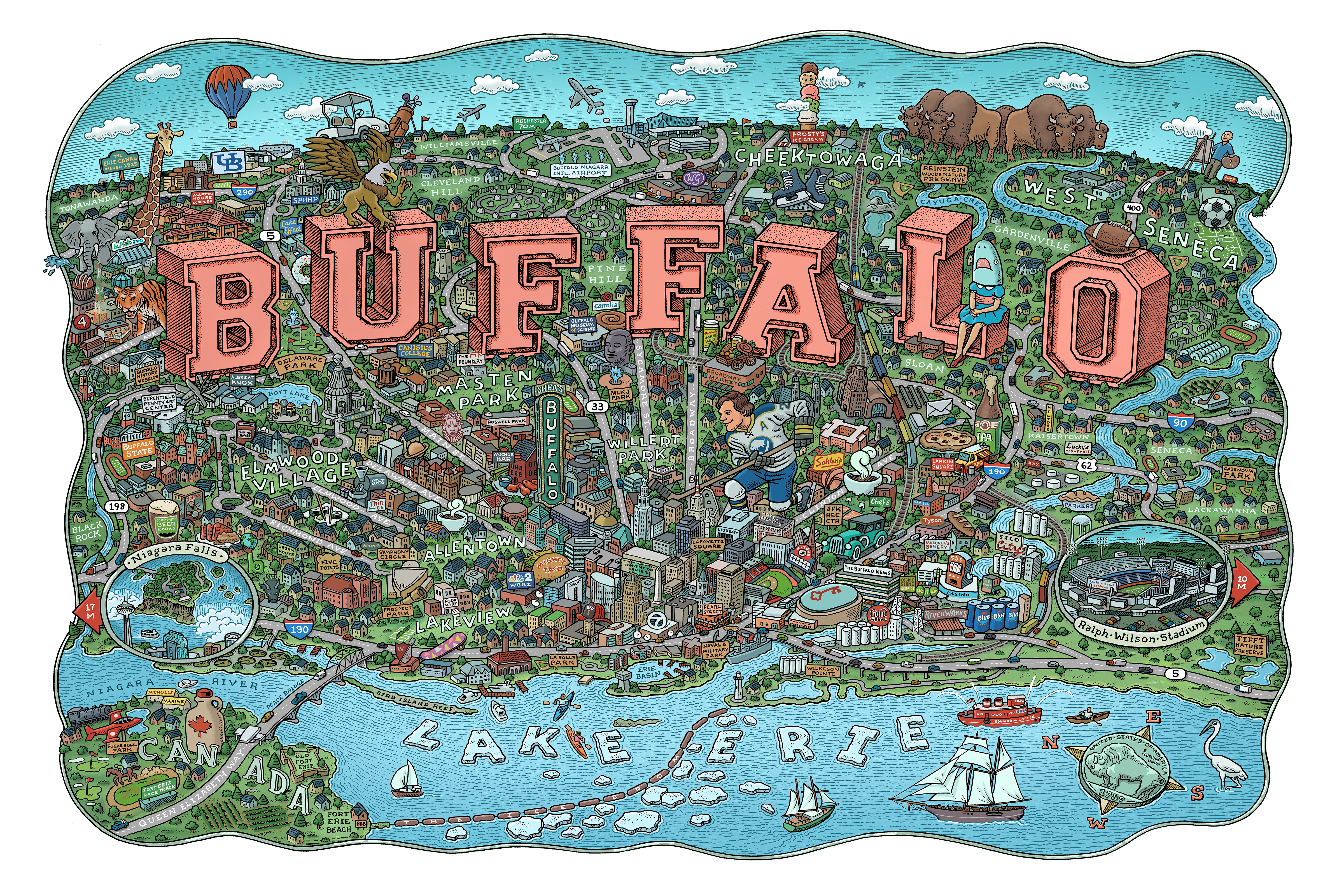 Pittsburgh-based illustrator Mario Zucca spent months creating an illustrated map of the Greater Buffalo region. It features dozens of community institutions, personalities and landmarks.