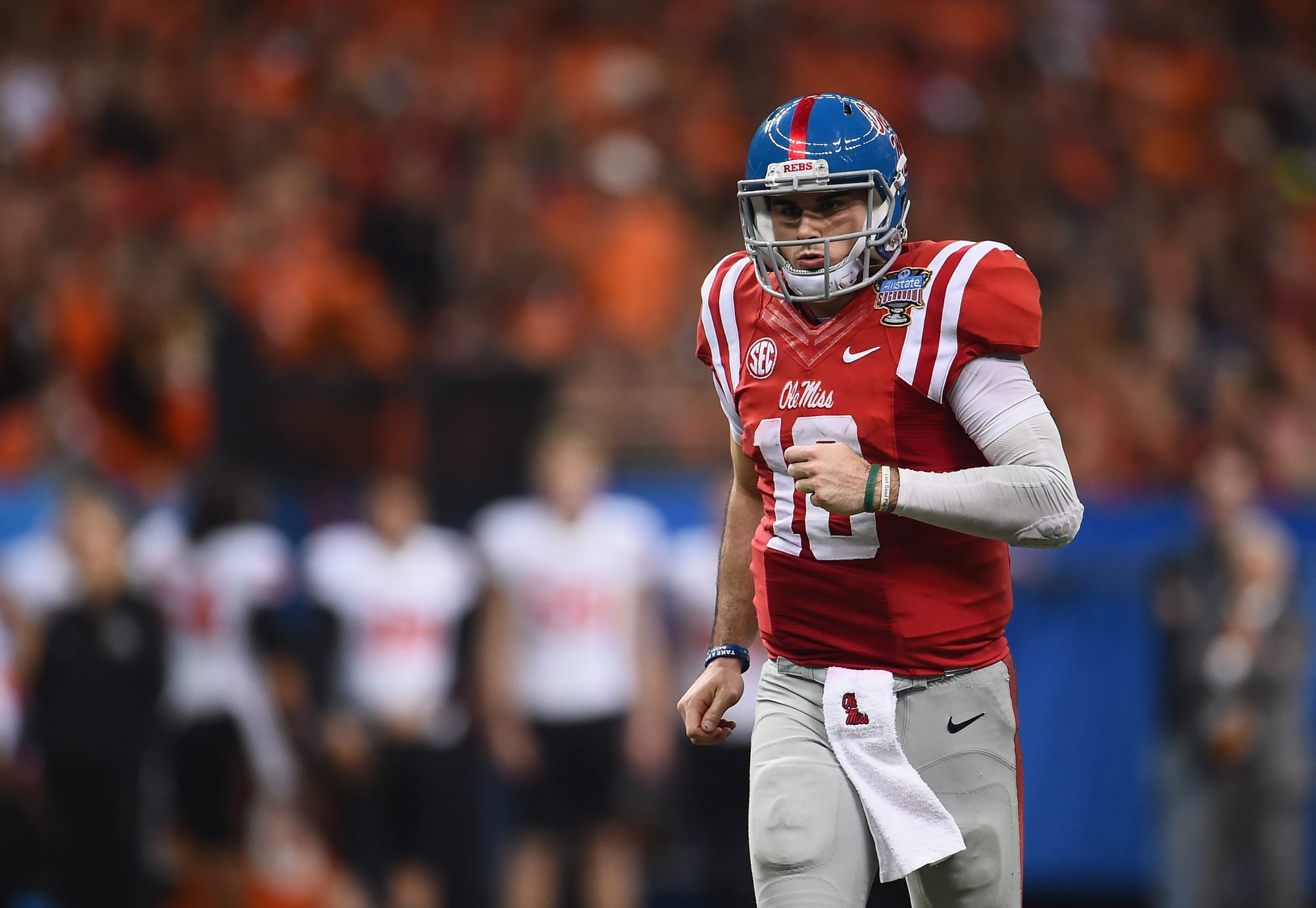NEW ORLEANS, LA - JANUARY 01:  Quarterback Chad Kelly #10 of the Mississippi Rebels is seen during the third quarter against the Oklahoma State Cowboys of the Allstate Sugar Bowl at Mercedes-Benz Superdome on January 1, 2016 in New Orleans, Louisiana.  (Photo by Stacy Revere/Getty Images)