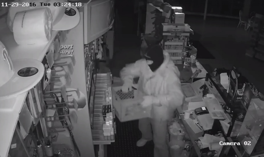 Surveillance footage shows a burglar in the Bayview Deli on Bayview Road. (Town of Hamburg police)