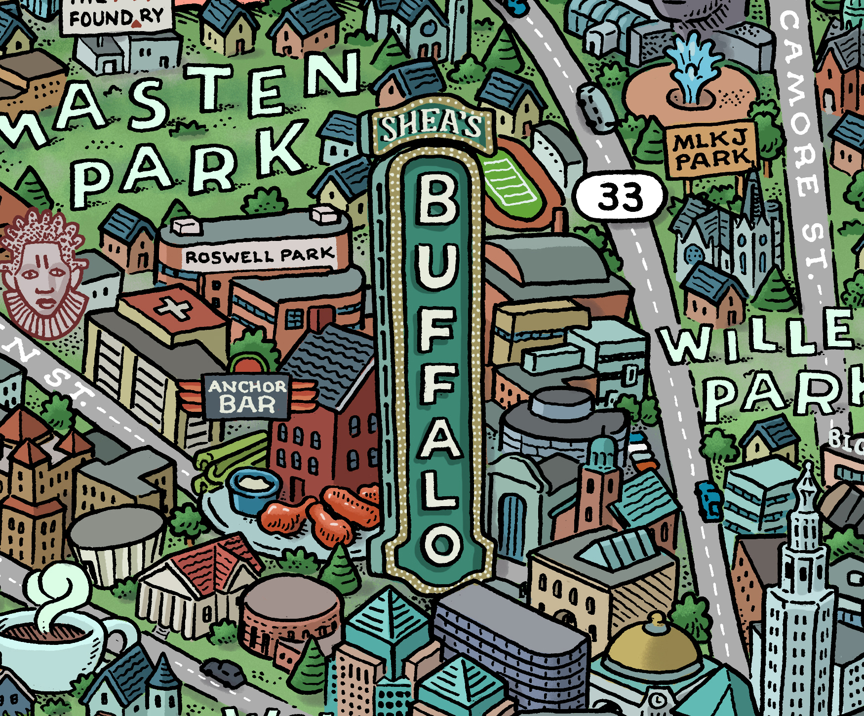 Rust Belt pride shines in new illustrated map of Buffalo ... Illustrated Pittsburgh Map on pittsburgh art map, pittsburgh black map, pittsburgh simple map, pittsburgh interactive map, pittsburgh aviation map, pittsburgh illustration, pittsburgh history, pittsburgh photography,