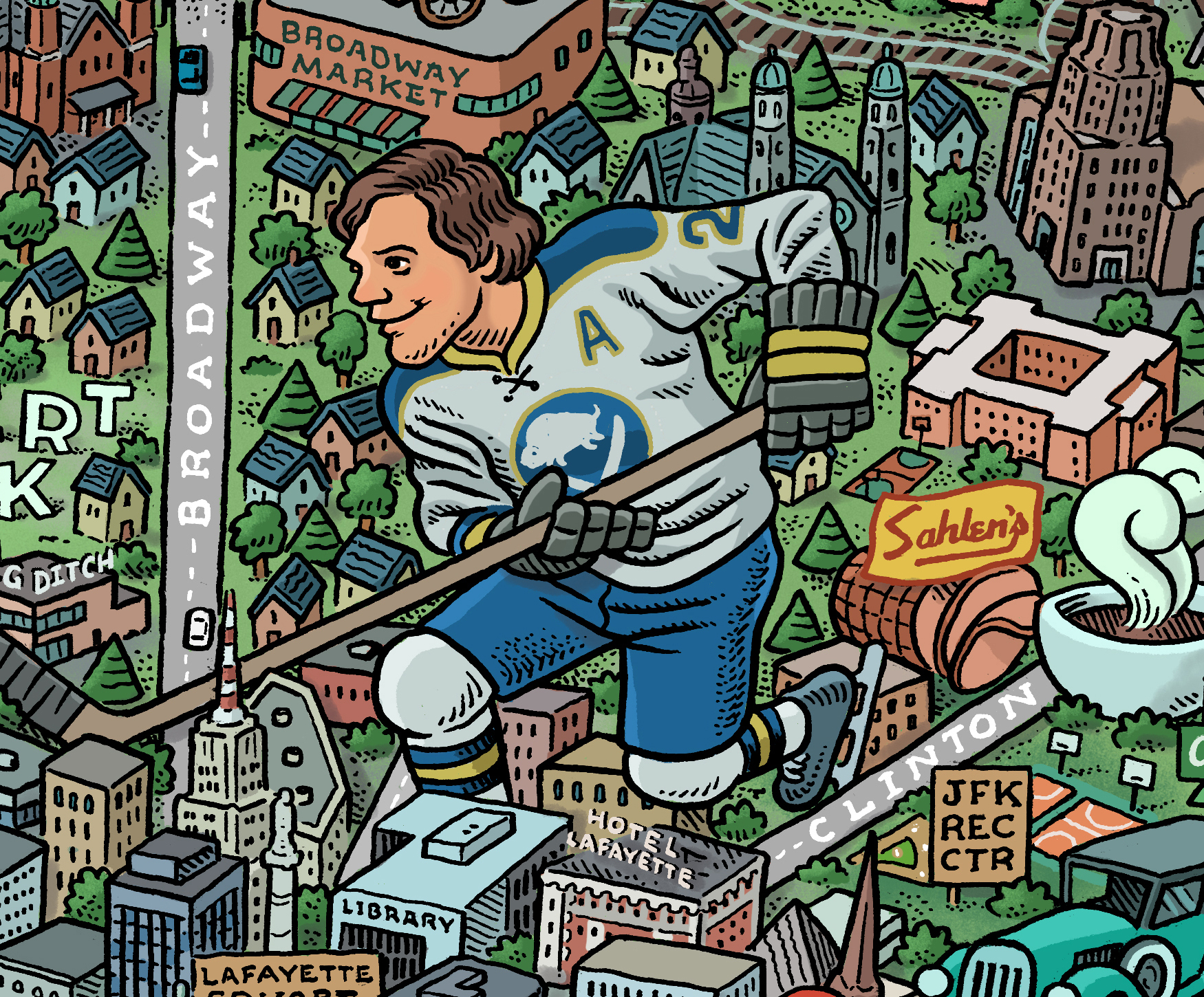 A detail of illustrator Mario Zucca's map of Buffalo features the figure of a Buffalo Sabre Tim Horton towering over downtown Buffalo.